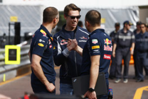 Monte Carlo, Monaco.  Wednesday 25 May 2016. Daniil Kvyat, Toro Rosso, greets former Red Bull colleagues. World Copyright: Andy Hone/LAT Photographic ref: Digital Image _ONZ3013